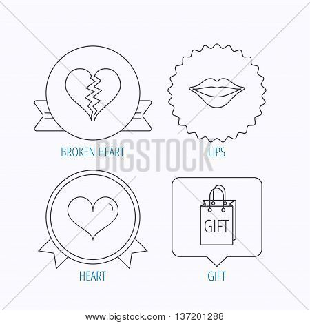 Love heart, kiss lips and gift icons. Broken heart linear sign. Award medal, star label and speech bubble designs. Vector