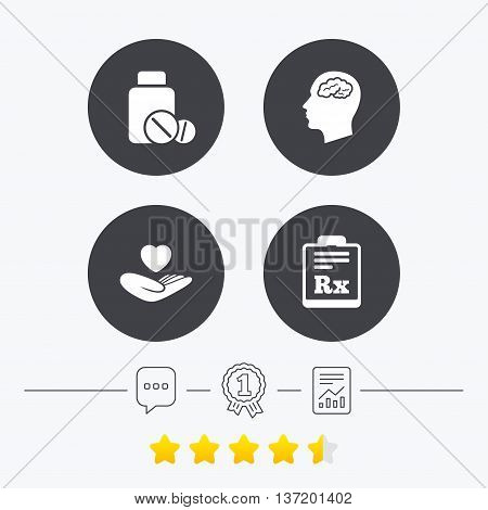 Medicine icons. Medical tablets bottle, head with brain, prescription Rx signs. Pharmacy or medicine symbol. Hand holds heart. Chat, award medal and report linear icons. Star vote ranking. Vector