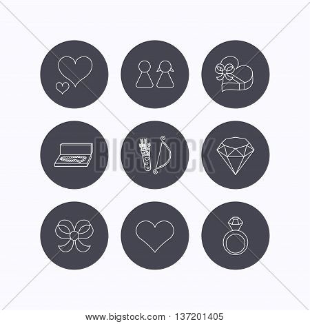 Love heart, brilliant and engagement ring icons. Bow, couple and gift box linear signs. Valentine amour arrows flat line icons. Flat icons in circle buttons on white background. Vector