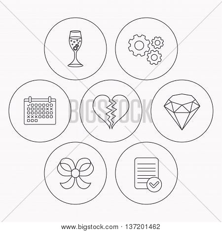Broken heart, brilliant and engagement ring icons. Bow-knot linear sign. Check file, calendar and cogwheel icons. Vector
