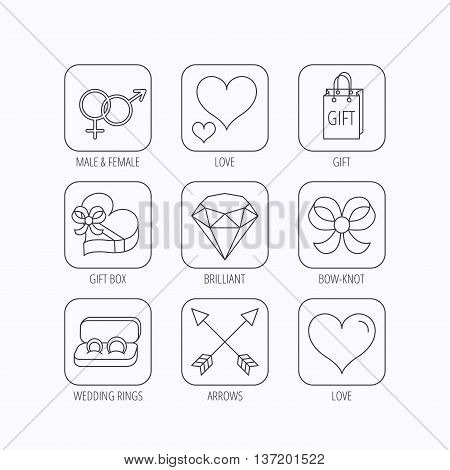 Love heart, gift box and wedding rings icons. Bow and engagement linear signs. Valentine amour arrows, brilliant flat line icons. Flat linear icons in squares on white background. Vector