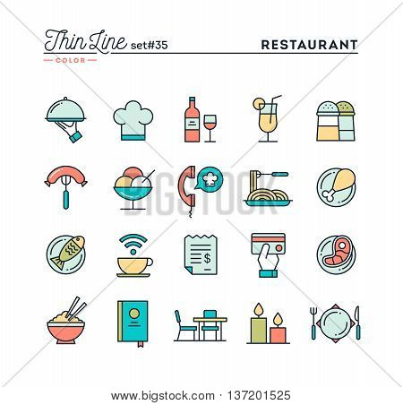 Restaurant phone ordering meal receipt and more thin line color icons set vector illustration
