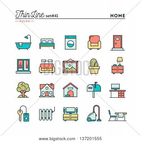 Home interior furniture and more thin line color icons set vector illustration