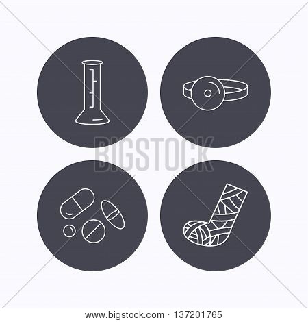 Gypsum, lab beaker and medical pills icons. Medical mirror linear sign. Flat icons in circle buttons on white background. Vector