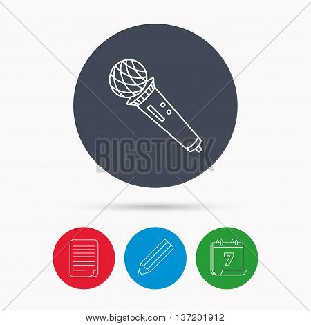 Microphone icon. Karaoke or radio sign. Calendar, pencil or edit and document file signs. Vector