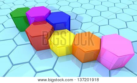 Hexagon shaped pillars in different colors embedded in a large grid business concept 3D illustration