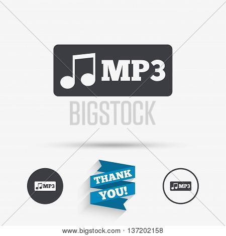 Mp3 music format sign icon. Musical symbol. Flat icons. Buttons with icons. Thank you ribbon. Vector
