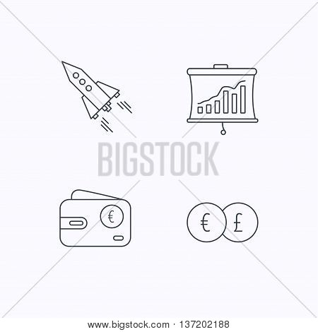 Currency exchange, cash money and startup icons. Wallet, statistics linear signs. Flat linear icons on white background. Vector