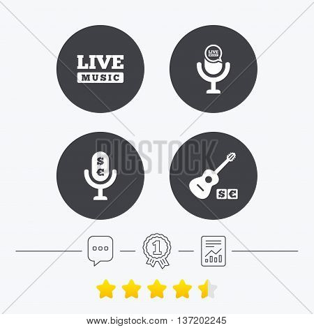 Musical elements icons. Microphone and Live music symbols. Paid music and acoustic guitar signs. Chat, award medal and report linear icons. Star vote ranking. Vector