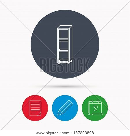 Empty shelves icon. Shelving sign. Calendar, pencil or edit and document file signs. Vector