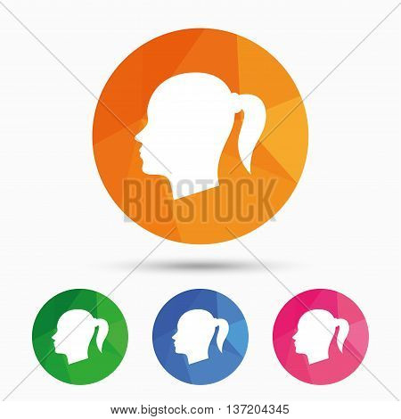 Head sign icon. Female woman human head with pigtail symbol. Triangular low poly button with flat icon. Vector