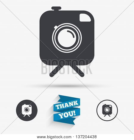 Hipster photo camera sign icon. Retro camera on tripod symbol. Flat icons. Buttons with icons. Thank you ribbon. Vector