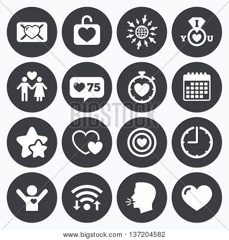 Calendar, wifi and clock symbols. Like counter, stars symbols. Love, valentine day icons. Target with heart, oath letter and locker symbols. Couple lovers, boyfriend signs. Talking head, go to web symbols. Vector