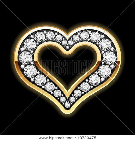 Heart in diamonds. Vector.