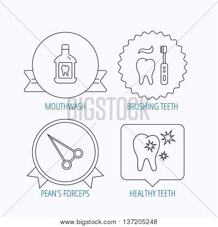 Mouthwash, healthy teeth and peans forceps icons. Brushing teeth linear sign. Award medal, star label and speech bubble designs. Vector