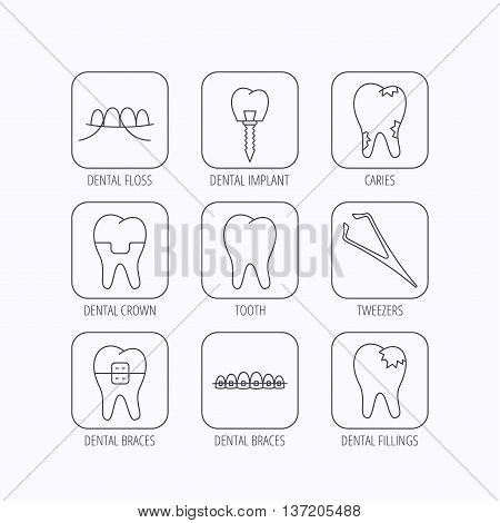 Dental implant, floss and tooth icons. Braces, fillings and tweezers linear signs. Caries icon. Flat linear icons in squares on white background. Vector