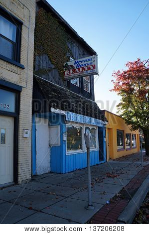 JOLIET, ILLINOIS / UNITED STATES - NOVEMBER 1, 2015: One may drink coffee and use the internet at Cybercafe Digital World in downtown Joliet.
