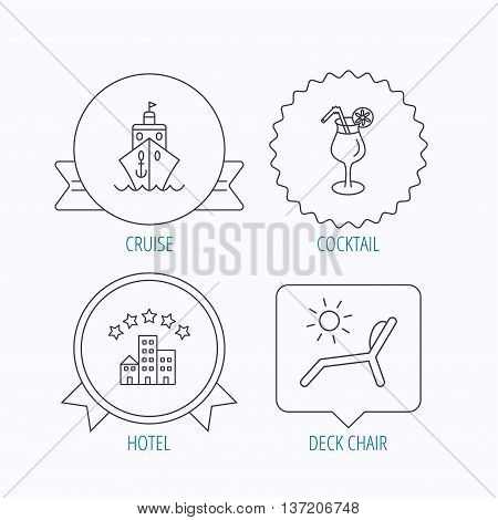 Cruise, waves and cocktail icons. Hotel, deck chair linear signs. Award medal, star label and speech bubble designs. Vector