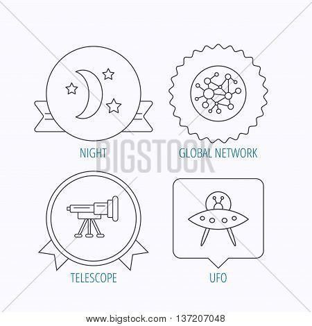 Ufo, global network and telescope icons. Night linear sign. Award medal, star label and speech bubble designs. Vector