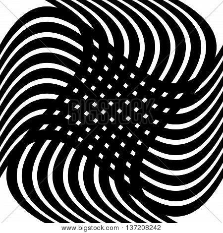Grid, Mesh Distortion. Deformed Intersecting Lines. Geometric Pattern / Element.