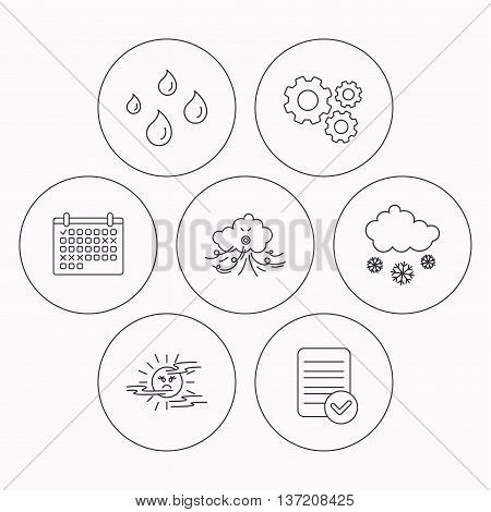 Weather, snow and rain icons. Water drops and mist linear signs. Check file, calendar and cogwheel icons. Vector