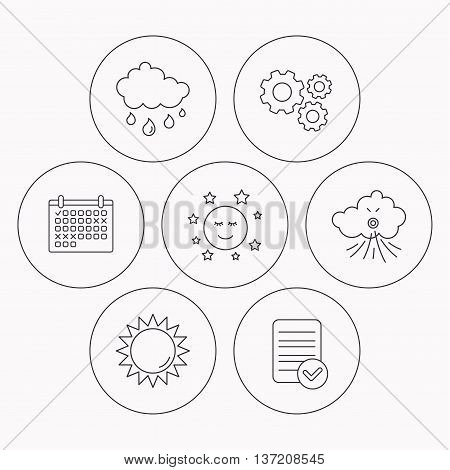 Weather, sun and rain icons. Moon night and wind linear signs. Check file, calendar and cogwheel icons. Vector