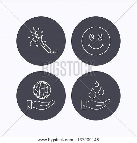 Save water, save planet and slapstick icons. Smiling face linear sign. Flat icons in circle buttons on white background. Vector