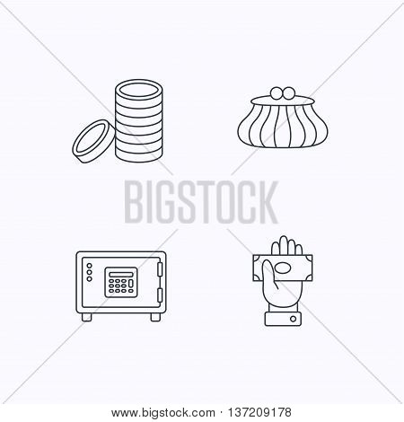 Give money, cash money and wallet icons. Safe box, coins linear signs. Flat linear icons on white background. Vector
