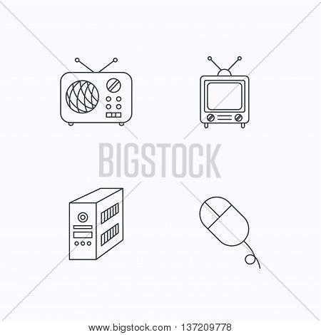 Radio, retro TV and PC mouse icons. PC case linear sign. Flat linear icons on white background. Vector