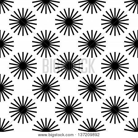 Repetitive Pattern With Radial-radiating Lines. Abstract Geometric Monochrome Background. Intersecti