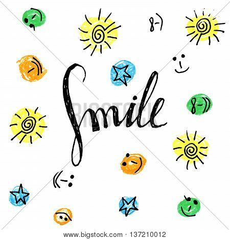 Smile hand drawn motivational poster with colorful sun, smiley, star pattern. Calligraphy lettering design element for greeting cards, banners, posters, invitations, home decor. Vector illustration.