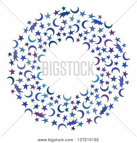 Children space round frame of the colorful star, moon and comet on white background. Design template for banner, greeting card, invitation, postcard, emblem etc. Vector illustration.