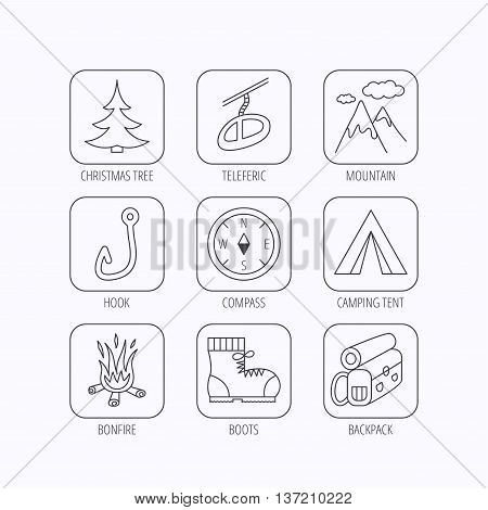 Mountain, fishing hook and hiking boots icons. Compass, backpack and bonfire linear signs. Camping tent, teleferic and christmas tree icons. Flat linear icons in squares on white background. Vector