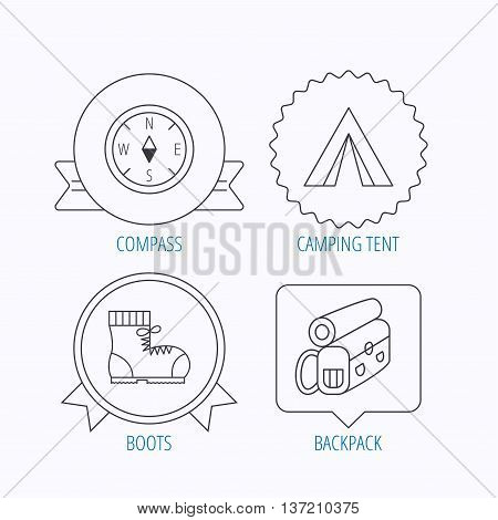 Compass, camping tent and hiking boots icons. Backpack linear sign. Award medal, star label and speech bubble designs. Vector