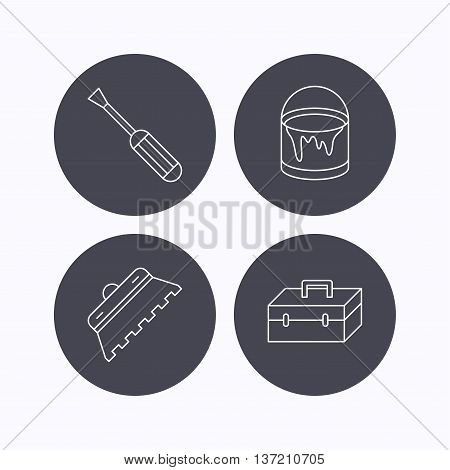 Screwdriver, trowel of tile and repair toolbox icons. Bucket of paint linear sign. Flat icons in circle buttons on white background. Vector
