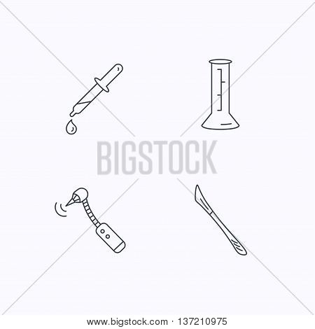 Beaker, medical scalpel and drilling tool icons. Pipette linear sign. Flat linear icons on white background. Vector