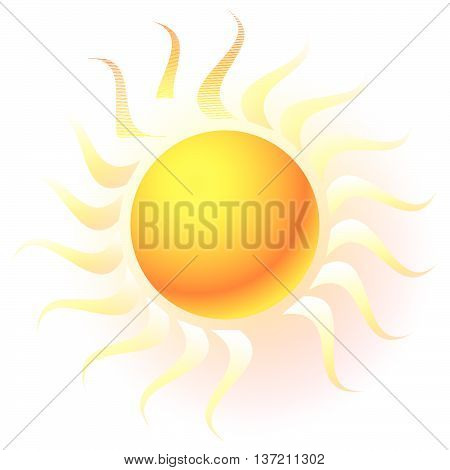 Sun Clip-art With Transparent Glow Effect. Sun Shine, Weather, Tanning, Sun Bathing Concepts.