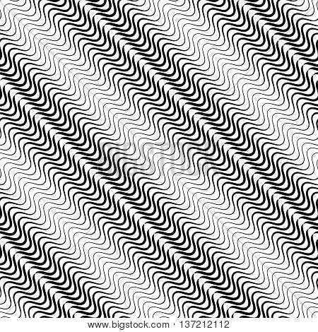Wavy Diagonal Parallel Lines. Seamless, Repeatable Monochrome Pattern