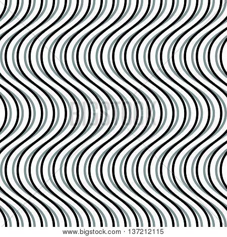 Wavy, Billowy, Undulating Lines. Seamless Geometric Monochrome Pattern / Texture.