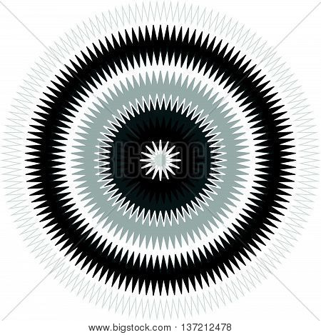 Edgy, Jagged Circular, Circle Element. Concentric Shapes With Distortion Effect. Abstract Design Ele