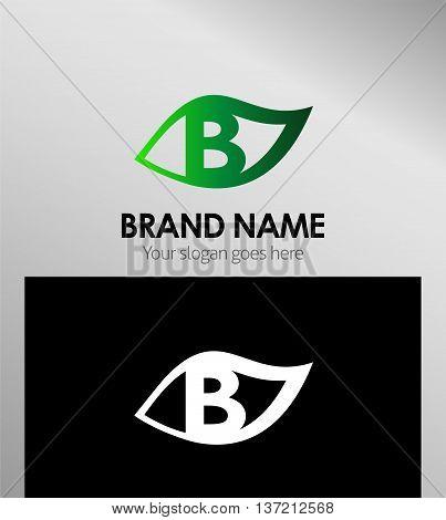 Leaf icon Logo Design Concepts. Letter B