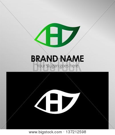 Leaf icon Logo Design Concepts. Letter H