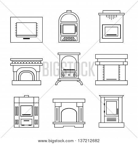 Flat linear icons fireplace, stoves isolated on white background. Vector illustration