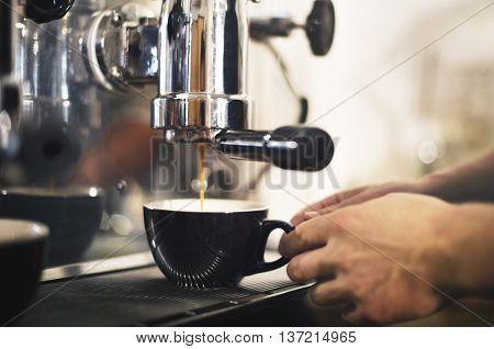 Barista Coffee Maker Machine Grinder Portalifter Concept blur