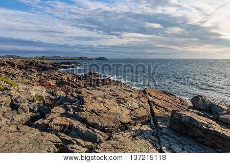 Large slabs of rock on the Newfoundland shoreline near Cape Bonavista