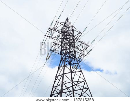 high voltage post.High- voltage tower sky background