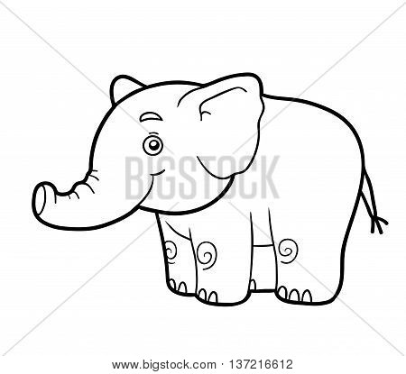Coloring book for children, coloring page with elephant