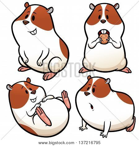 Vector illustration of Cartoon Hamster Character Set