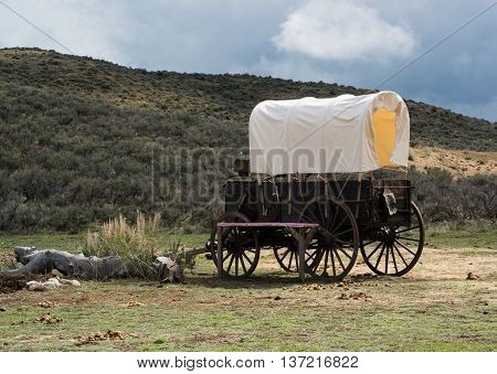 Western covered chuckwagon for cooking food on a trail drive