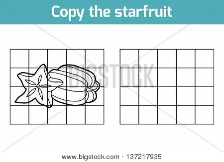 Copy The Picture. Fruits And Vegetables, Starfruit
